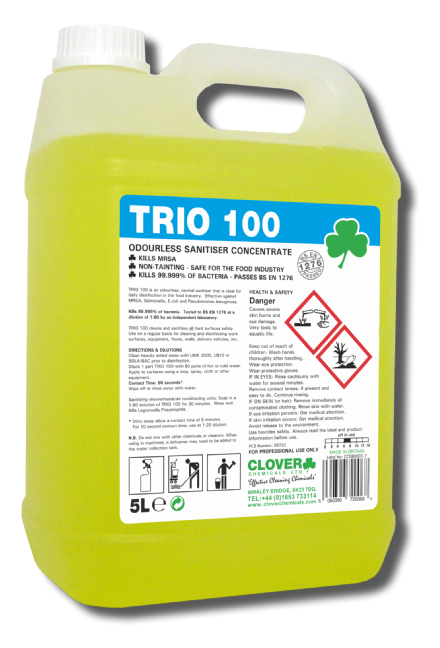 Clover Trio 100 5L - Hard Surface Sanitiser/Cleaner